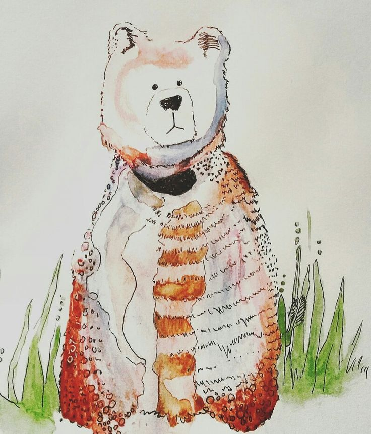 Concerned teddy watercolour and ink illustration by Kristan Billing
