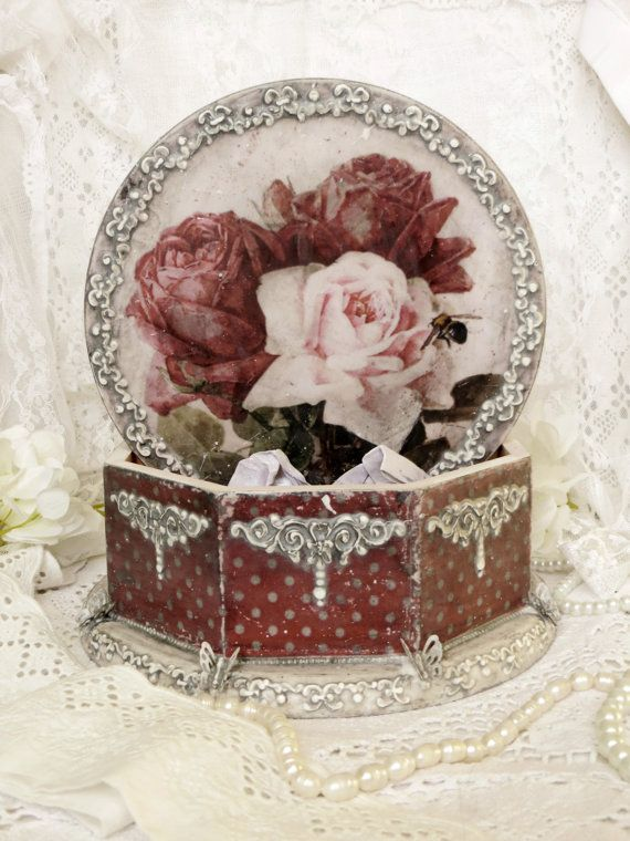 Wooden box for candies  Romantic decoupage by AnnaBoutiqueStore