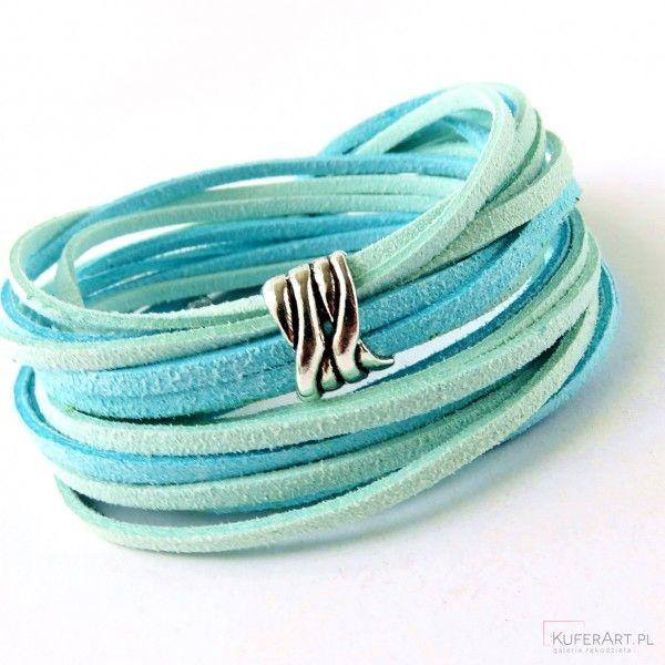 Bransoletka sznurkowa niebiesko miętowa