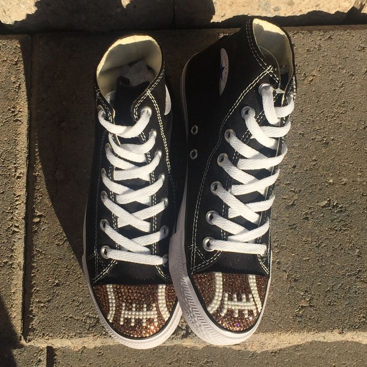 Check out Tricked Kicks CLEARANCE section! Find ready to ship blinged Converse shoes at amazing clearance prices!  Check back often for new deals. Just added, football  bling black high tops in size 8.