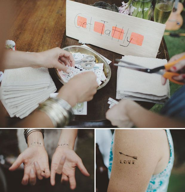 temporary tattoo as cool wedding favours