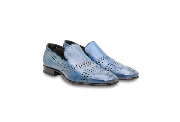 Moreschi Perforated Light Blue Kangaroo Skin Slip-ons - Moreschi men's Slip-on shoes in light blue color with perforated pattern. This shoes made of 100% Kangaroo leather and comes with leather sole, leather insole and low heel. Unique pattern, light color and very soft material give to this loafers a great look that will go well with any business casual or casual men's summer outfit.