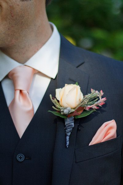 Black pinstripe three-piece suit,  peach tie and pocket square with a single rose boutonniere {Cathy Stancil Photography}