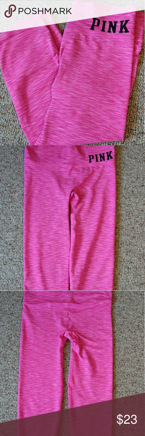 PINK Yoga Capri's Excellent used condition. No holes. No stains. No pilling. Size XS. true to size. Please reference measurements.  Waist measures 13 inches Inseam 17 1/2 inches Width of hem 5 inches  ⛔Please make offers thru the OFFER TAB ONLY. I DO NOT negotiable on the listing.⛔  ❌No trades ❌No modeling ❌No holds 47 PINK Victoria's Secret Pants Capris