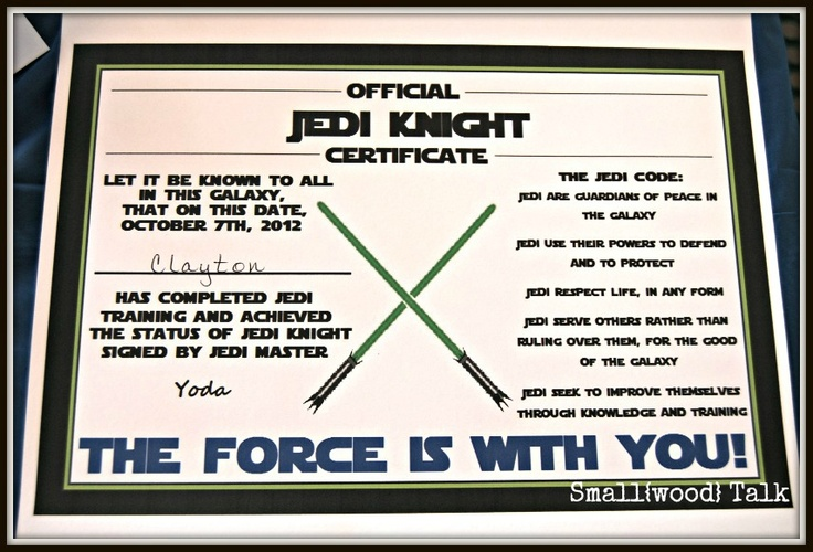17 best images about star wars birthday party on pinterest tie fighter star wars jedi and for Jedi knight certificate