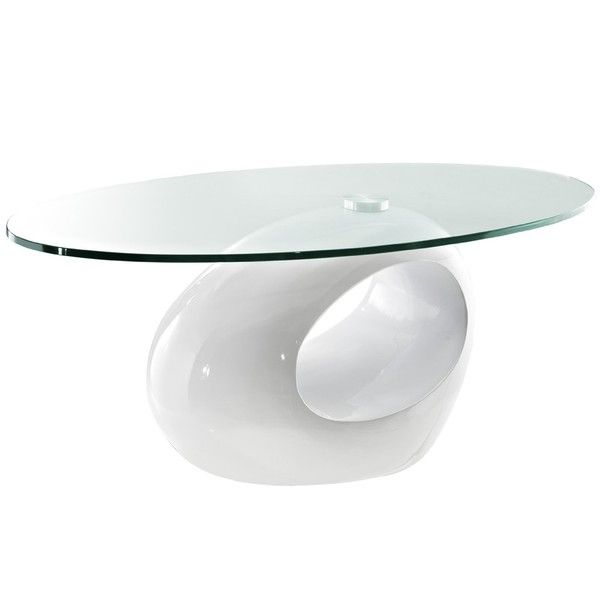 Furniture Wonderful Oval Glass Top Modern Coffee Table With White Unique Base As Interior Furnishing Concepts Best For Living