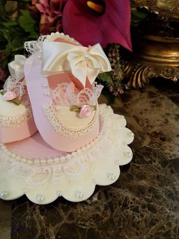 Elegante rosa y crema bebé niña calzado Topper de la torta /