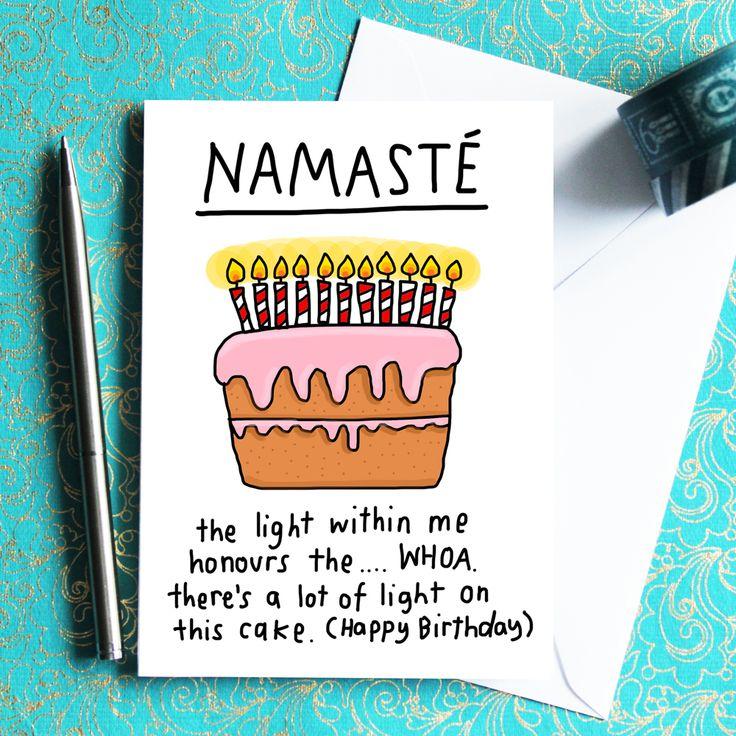 Namasté Birthday Card Happy birthday yoga, Birthday card