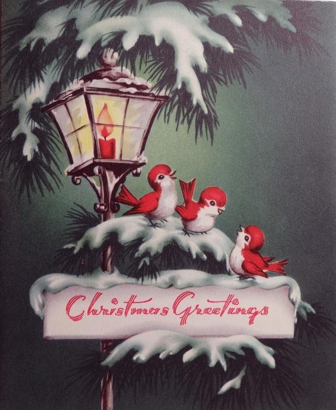 vintage birds Christmas card
