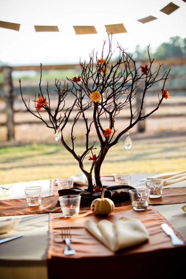 8. Rustic Branch Centerpiece (would be beautiful with the lace or burlap covered votive cups)