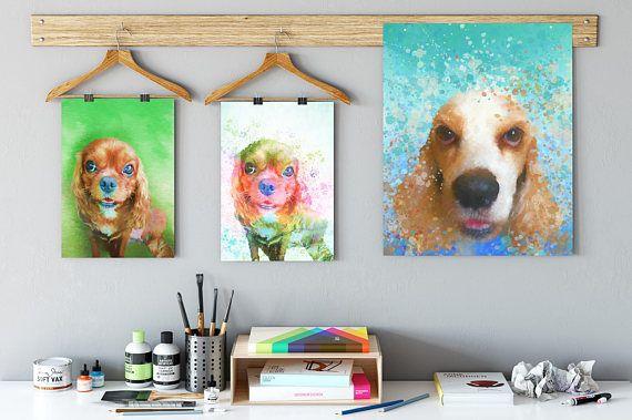 Watercolor dog portrait Cavalier portrait Spaniel portrait