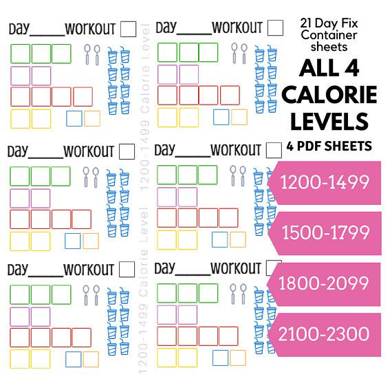 21 Day Fix Printable Container Tracking Sheets For All Four