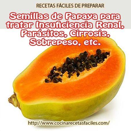 Semillas de papaya para tratar insuficiencia renal, parásitos, cirrosis, sobrepeso,etc.