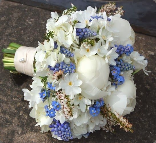 Wedding Bouquet ~ Forget Me Nots Muscari Planet Flowers - Blair Castle - Joann Scott Weddings