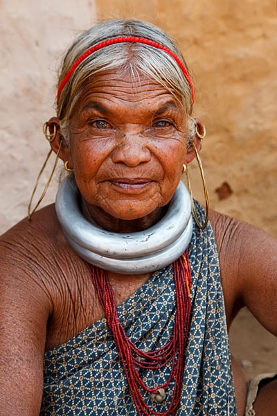 India | Portrait of a Gadaba tribal woman in traditional dress, at the weekly Thursday market held in Onkadelli. Orissa  | © Kimberley Coole