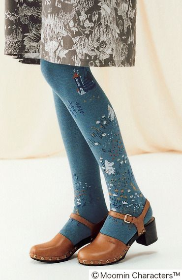 Moomin tights - I need to remember these. And the shoes are really nice, too. Is that a Moomin dress I see, too?!