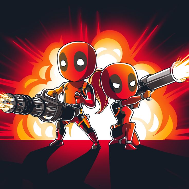 Tag Team - This official Marvel t-shirt featuring Deadpool and Lady Deadpool is only available at TeeTurtle!