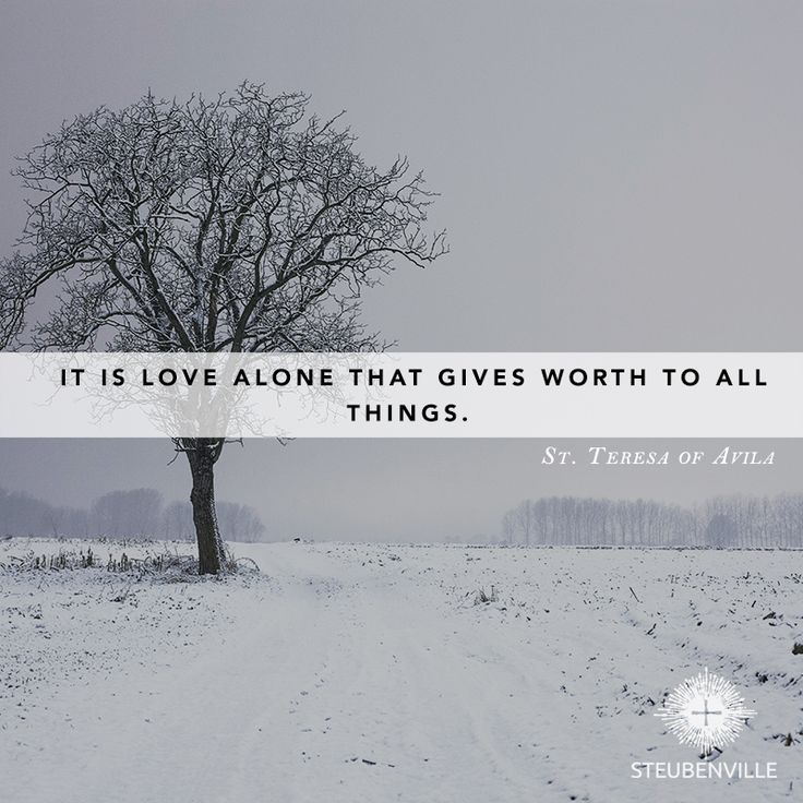"""It is love alone that gives worth to all things."" -St. Teresa of Avila"