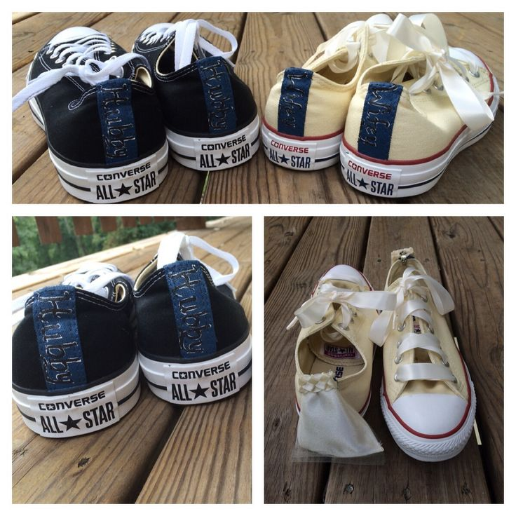 "This listing is for TWO (2) pairs of shoes! (Please not sizes for bride and groom at check out)These customized Bride and Groom Converse (or Toms) are one-of-a-kind! They can be customized with any design you desire to include your wedding date or ""Mr./Mrs. ______"".The pair shown were for a bride in Denmark, who wanted ivory Converse with a more minimalist look (sans rhinestones).The price of this listing includes 2 pairs of authentic Converse or Toms. For the ..."