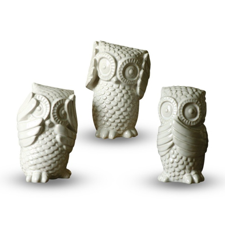 6 in. Hear/See/Speak No Evil White Owls - Set of 3 at the Foundary $25 - how cute!