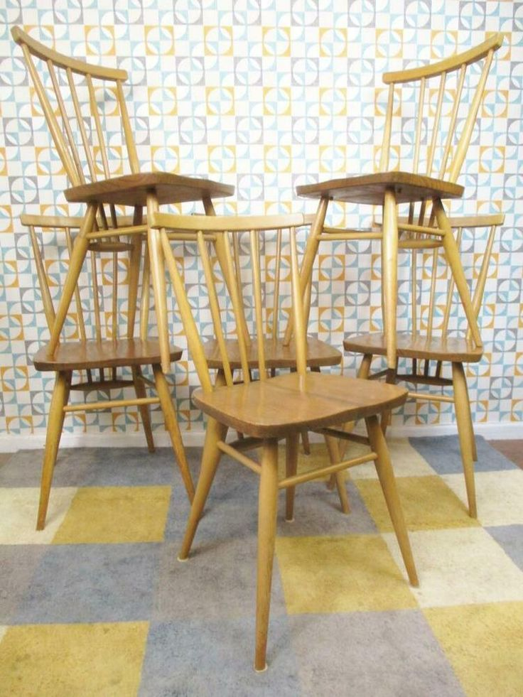 Ercol Set Of 6 Dining Chairs Vintage 60's Elm & Beech