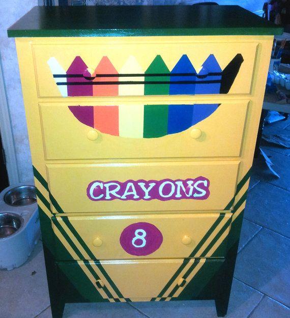 Kids Crayon Box Dresser Whimsical Painted by HeartfeltByLucinda