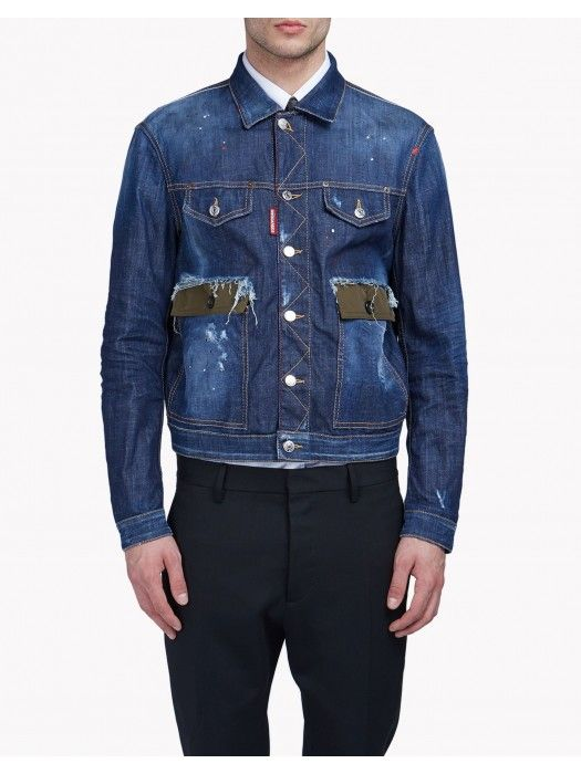77b4d62a4bb25c Dsquared2 Contrasted Pocket Denim Jacket #dsquared2 #fashion #lifestyle  #jackets #men #outlet #clothing