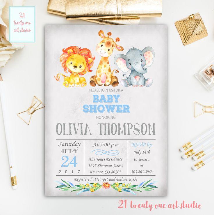 Jungle Safari Baby Shower Invitation, Boy Safari Baby Shower Invite, Printable Baby Shower Invitation