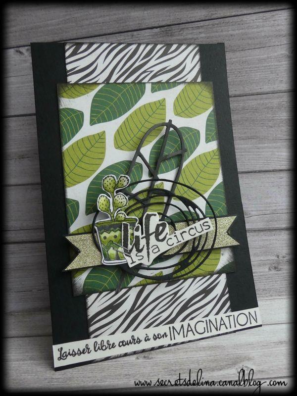 carte cactus feuillage card circus #scrap #card #secretsdelina