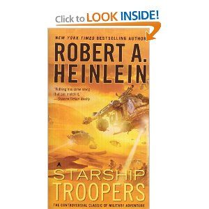 No, its not like the movie.  Its a book about military psychology and morality in a fictional setting.  Starship Troopers: Robert A. Heinlein