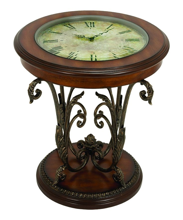 end table with functioning clock face topproduct end material metal and glasscolor brown batteries not included