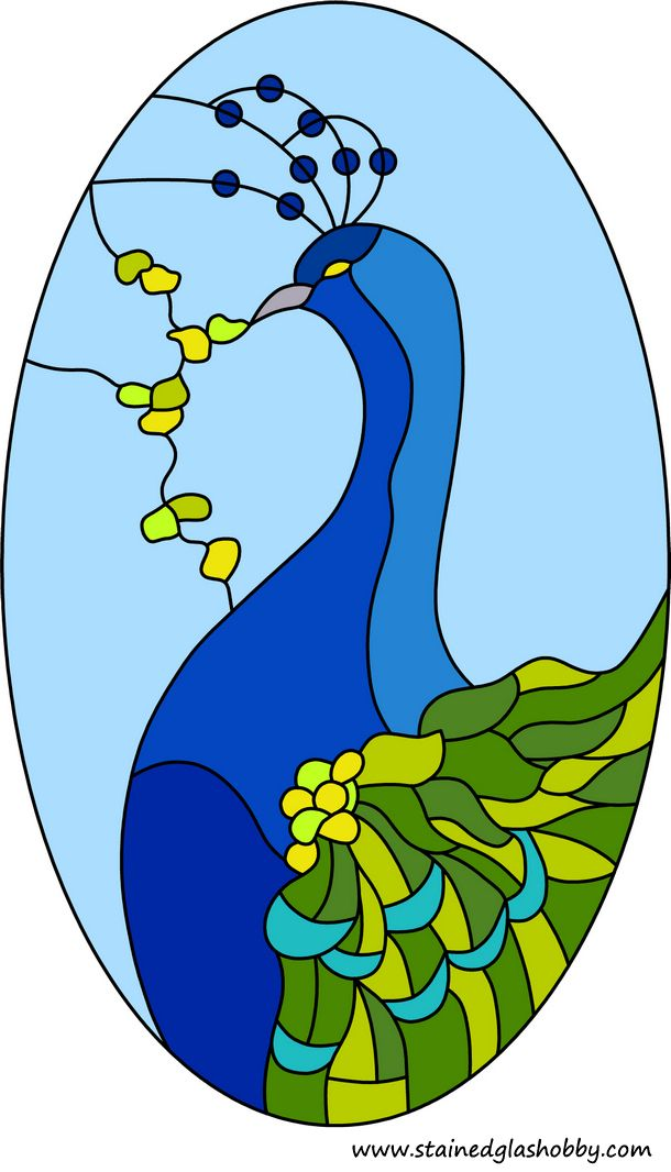 Blue peacock stained glass design