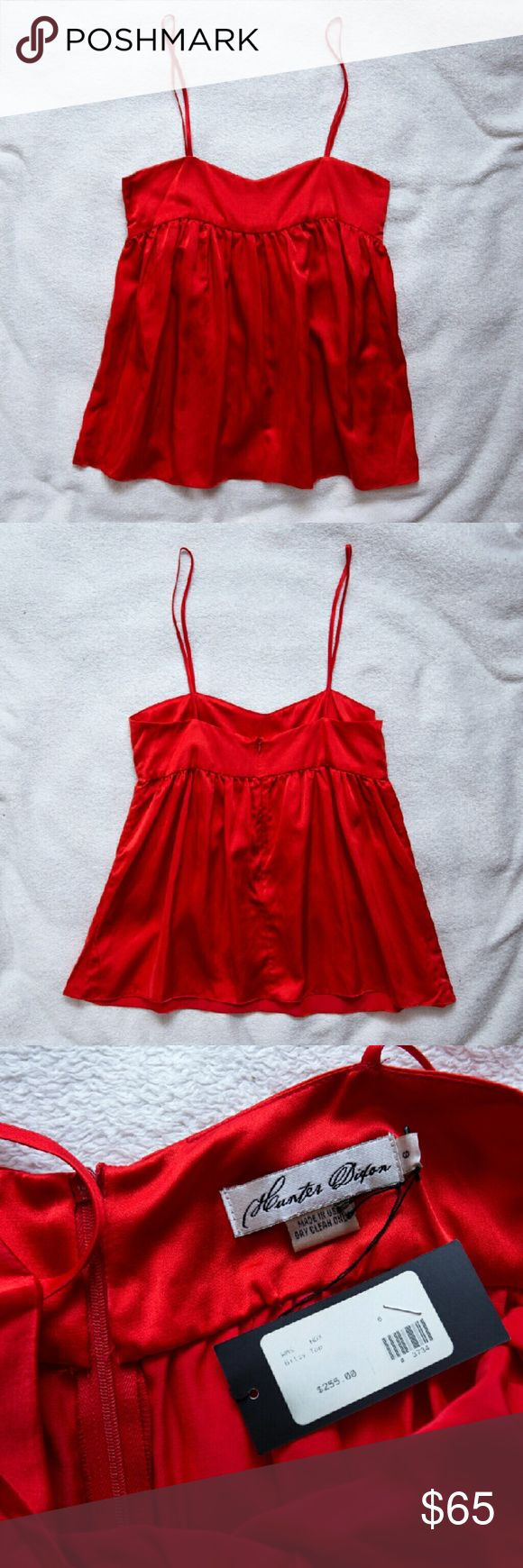 "Hunter Dixon Red Silk Tank NWT US6 $255 New with tags! This is a beautiful red silk tank by Hunter Dixon! It is very low-cut, and the spaghetti straps are not adjustable, so be aware that you will probably need to take them in a bit. It was made in the USA with 100% silk, and it measures 28"" long, and 16"" across the chest from under the arm. This is a beautiful top for evening wear, and versatile enough to wear with many colors. Hunter Dixon Tops Camisoles"