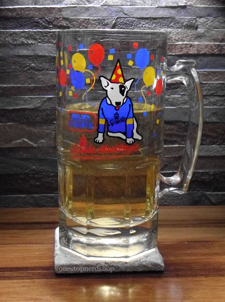 Clear Glass Beer Stein Mug Bud Lite Spuds Mackenzie Party Animal 32 Oz.oversize