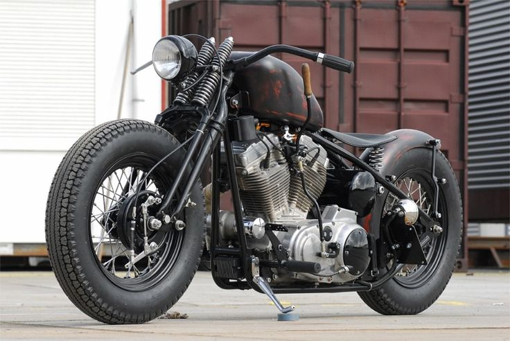 Classic Bobber Motorcycle with Springer Front End, Flat Handlebars and Suicide Shifter