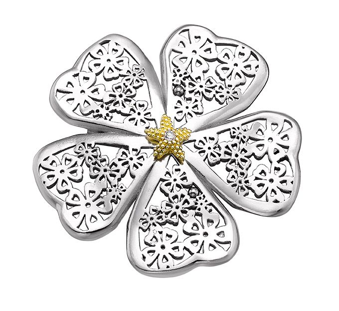 Broche plata Flor de almendro