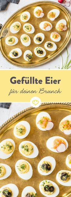 Von Wegen verstaubter Party-Snack! Kresse, Oliven, Knoblauch, Lachs und Radieschen verhelfen dem Klassiker zu einem gelungenen Auftritt auf deinem Brunchbuffet. Und damit deine Eier perfekt werden, gibt dir Redakteurin Tanja ein paar kleine Tricks für das Eierkochen. Aber damit es nicht nur bei einem Eierfrühstück bleibt, machen diese Frühstücksideen deinen Brunch perfekt.