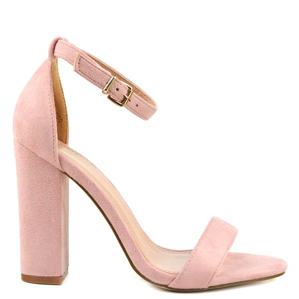 Pink high-heel sandal with suede texture and band. Features block heel. Fastens with adjustable ankle strap.