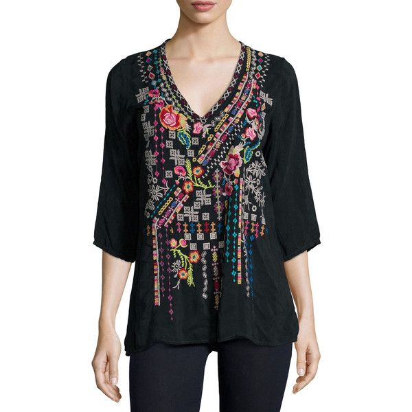 Johnny Was Collection Sonrisa Embroidered Tunic (2 955 ZAR) ❤ liked on Polyvore featuring tops, tunics, sanded black, black tunic, v neck pullover, black v neck tunic, black embroidered tunic and elbow length sleeve tops
