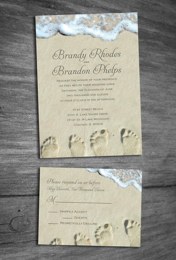 Beach Wedding Invitation. $50.00, via Etsy.