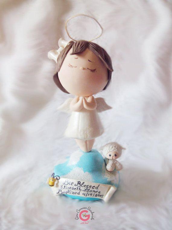 Decoracion de torta angel blanco creado en por GinaCarrascoHandmade