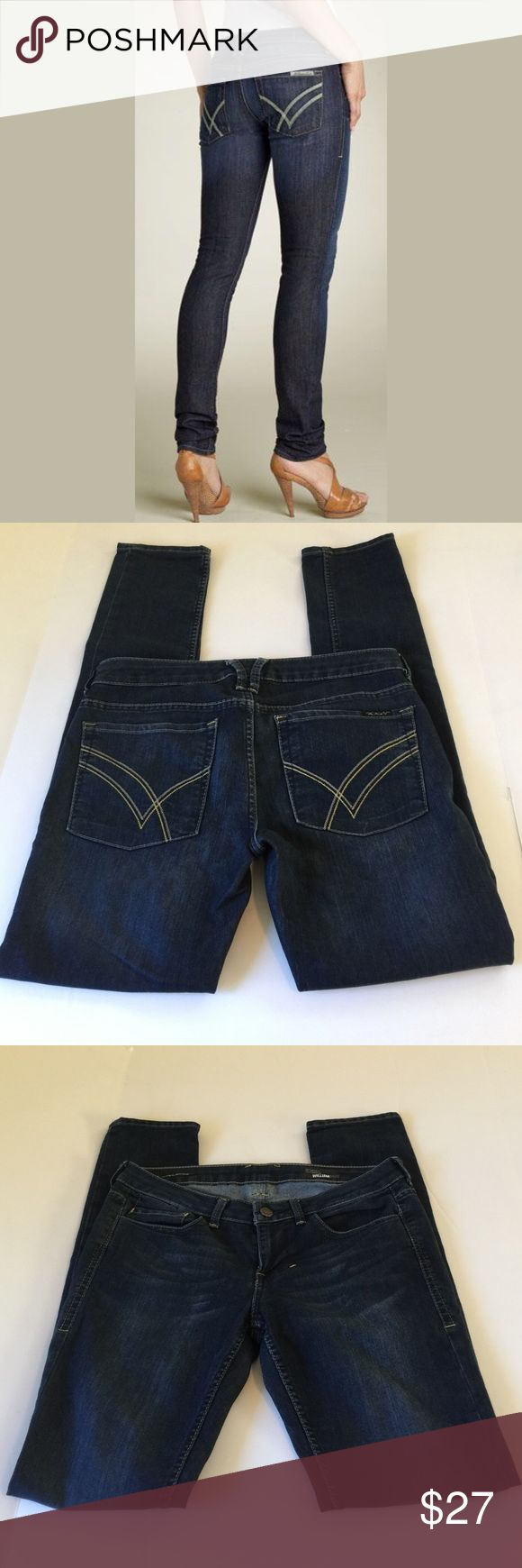 William Rast Jerri Ultra Skinny Jeans, size 29 William rast Jerri Ultra Skinny Jeans in size 29. Color is a dark wash blue with some factory fading. Flat lay measure of the waist is 17. Rise is 8.25, inseam is 32, and leg opening is 6. Made from 75% cotton and 25% polyester. In overall very good condition, please ask if you have any questions. William Rast Jeans Skinny