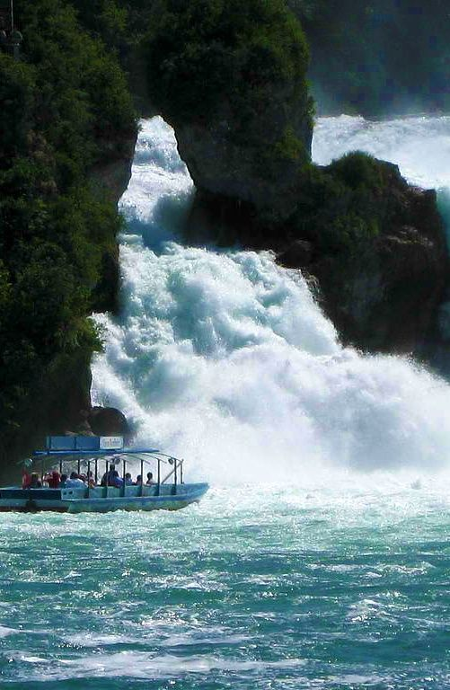 The Rhine Falls (Switzerland are the largest waterfall in central Europe. They are 150 meters wide and 23 meters high,easily accessible by car, bicycle and public transport. Learn more: http://www.touristeye.com/The-most-impressive-waterfalls-in-Spain-g-222992