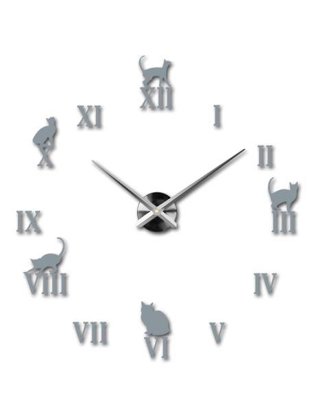 3D moderní nástěnné hodiny - Černá kočka Kód:  12S020-RAL7001-S-COLOR** Vyber si barvu podle sebe! Přišel čas zútulnit si své bydlení novými hodinami. Velké nástěnné 3D hodiny jsou krásnou dekorací Vašeho interiéru. Už nikdy nebudete opozdí.