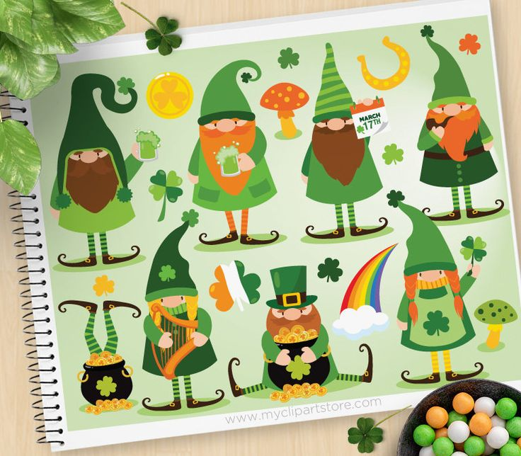 Download St. Patrick's Day Gnomes Clipart Dwarves Elves | Etsy in ...