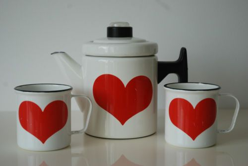 Vintage Arabia Finel Finland Antti Nurmesniemi Enamel Coffee Pot and 2 Mugs | eBay