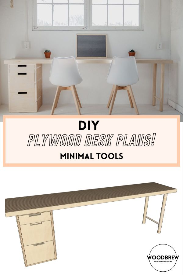 Diy Modern Plywood Desk Plans Minimal Tools Woodbrew Plywood Desk Desk Plans Desk