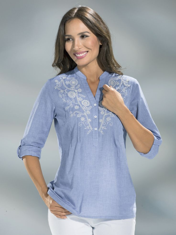 BADER - - B4DER BLUE Floral Embroidered Pintuck Shirt - Size 12 to 28 (EU 38 to 54)