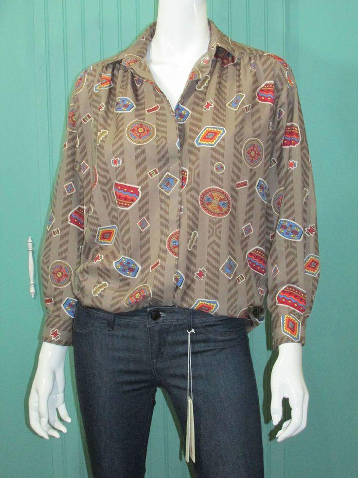 Diane Von Furstenberg DVF Top Vintage Navaho Print Blouse  #DianevonFurstenberg #BlouseButtonDownShirt