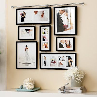 Beautiful way to display wedding pictures.